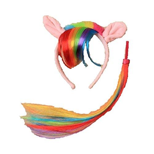 (LGBT Rainbow Bracelet Badge Hats Multicolor Headband Skirt Gay Pride Party Accessory (Rainbow Pony Aliceband)