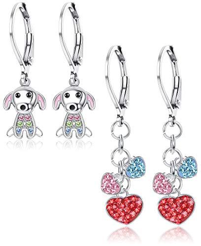 ORAZIO Earrings for Girls Dog Heart Leverback Dangle Earrings for Babies Kids Children (Earrings Dangle Dog)