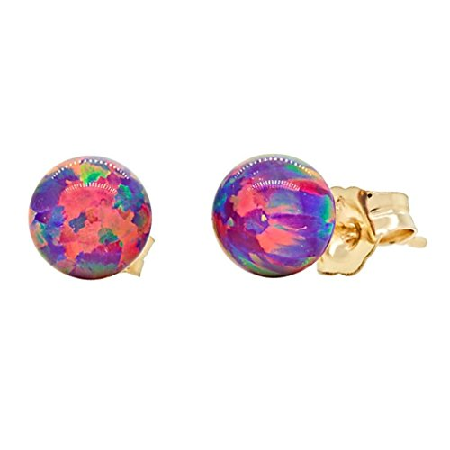 Trustmark 14k Yellow Gold 6mm Created Royal Lavender Opal Ball Stud Post Earrings, (Halloween Earrings Australia)
