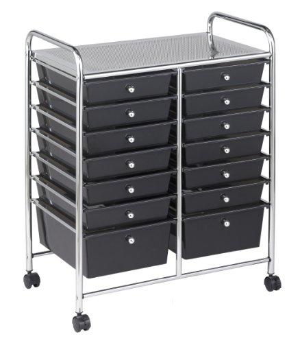 Width Filing Cart (ECR4Kids 14-Drawer Mobile Organizer, Smoke)