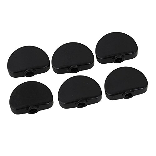 BQLZR Black Metal Alloy Universal Guitar Tuner Machine Head Semicircle Buttons Replacement Pack of 6