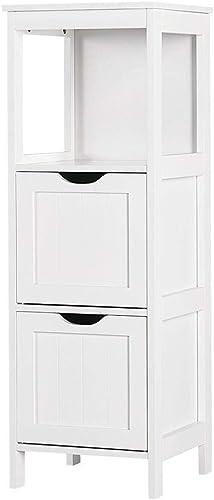 Yaheetech Bathroom Storage Cabinet, Wooden Floor Cabinet with 2 Drawers, Multifunctional Organizer Rack Stand, White Renewed