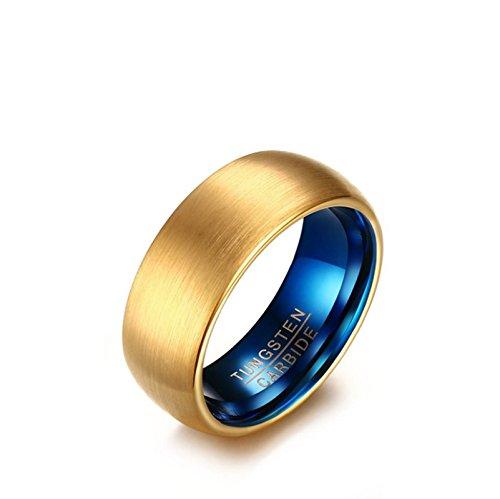 KnSam Tungsten Ring for Men Matt Polished 8MM Wedding Band Gold Size 9
