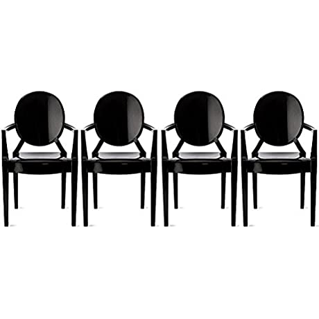 2xhome Set Of 4 Modern Designer Louis Ghost Armchairs With Polycarbonate Solid Black Plastic