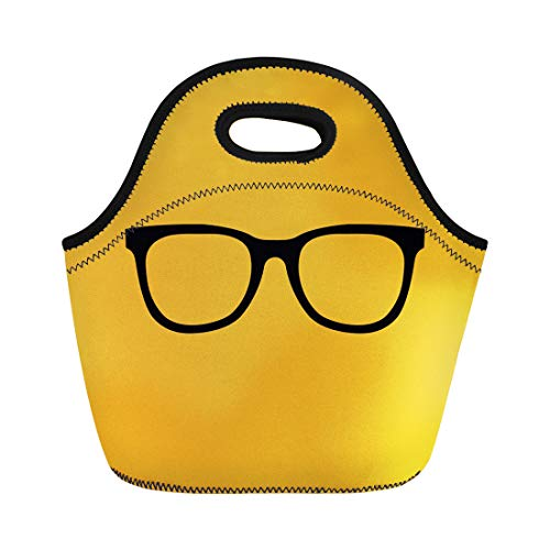 Semtomn Lunch Tote Bag Orange Accessory Black Hipster Glasses Yellow Color Corrective Eyeglasses Reusable Neoprene Insulated Thermal Outdoor Picnic Lunchbox for Men Women