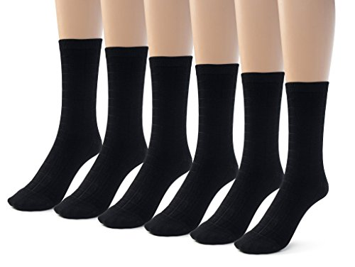 Silky Toes 6 Pk Womens Textured Bamboo Crew Socks, Designed Dress and Casual Socks (8-9, Black -6 Pairs) ()