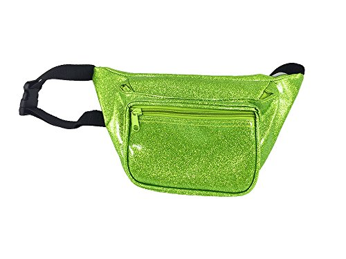 [Neon Fanny Pack, 80's Style Waist Bag, 3 Pockets, Multiple Colors Available (Sparkle Green)] (Chic Costumes)