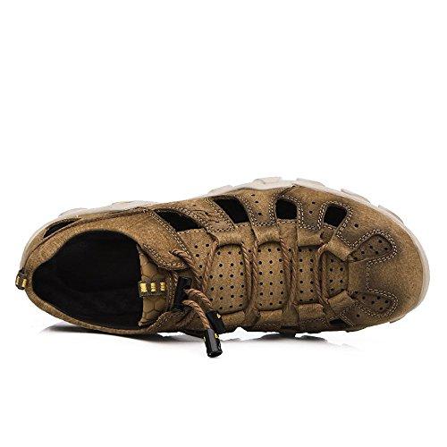 traspiranti chiusi sudore Sandali in 3 uomo uomo ciabattine Brown EU Sandali da 2 Brown estive Color 42 da traspiranti sandali assorbenti Size in pelle pelle regolabili Qingqing sandali TqU87n