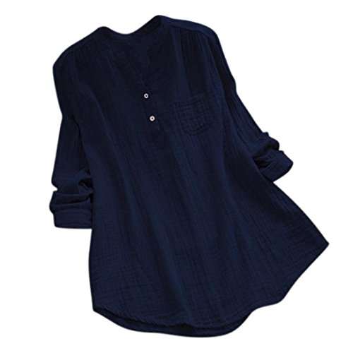 Realdo Clearance Sale, Casual Women Stand Collar Long Sleeve Loose Tunic Tops T Shirt Blouse(Navy,XXXX-Large) -