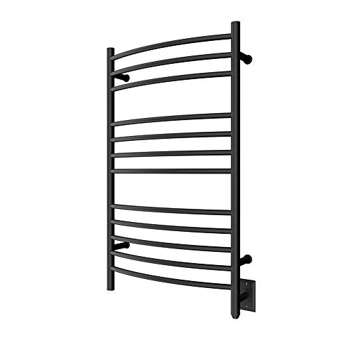 HEATGENE Towel Warmer for Bathroom Plug-in/Hardwired Drying Rack Matte Black ()