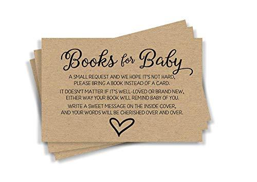 - 50 Gender Neutral Kraft Baby Shower Book Insert Request Cards (50-Cards)