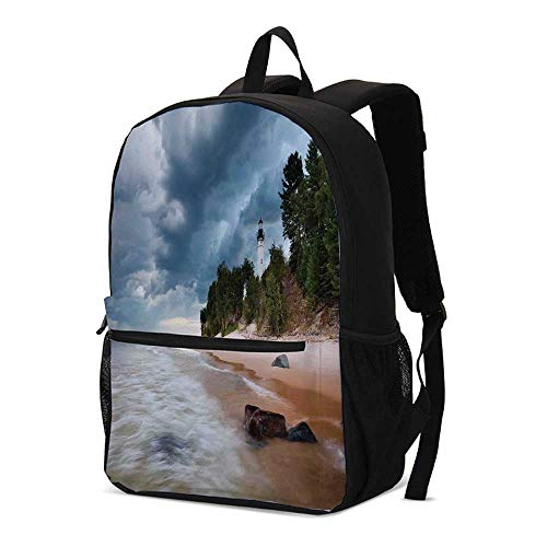 Sable Michigan Lighthouse - Lighthouse Decor Fashional Backpack,Au Sable Lighthouse in Pictured Rock National Lakeshore Michigan USA for School Travel,12.2