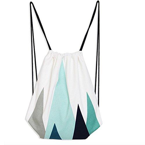 DANUC Harajuku Backpack Geometric Pattern Leisure Travel Drawstring Bag (Blue)