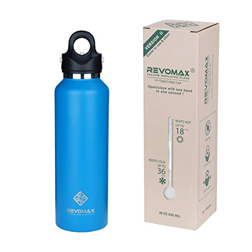 RevoMax V2 Twist-Free/No-Screw Vacuum Insulated Water Bottle -with One-Click Open/Close Lid for 36 Hours Ice Cold - Standard Mouth