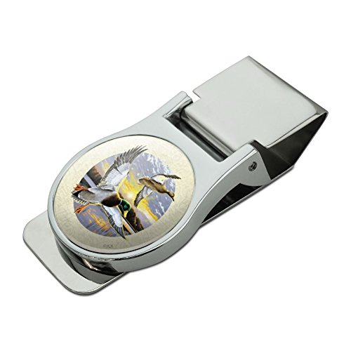 Duck Money Clip - Mallard Ducks Flying Sunrise Satin Chrome Plated Metal Money Clip