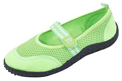Cambridge Select Dames Gesloten Ronde Neus Velcro Mary Jane Sneldrogend Mesh Antislip Waterschoen Groen