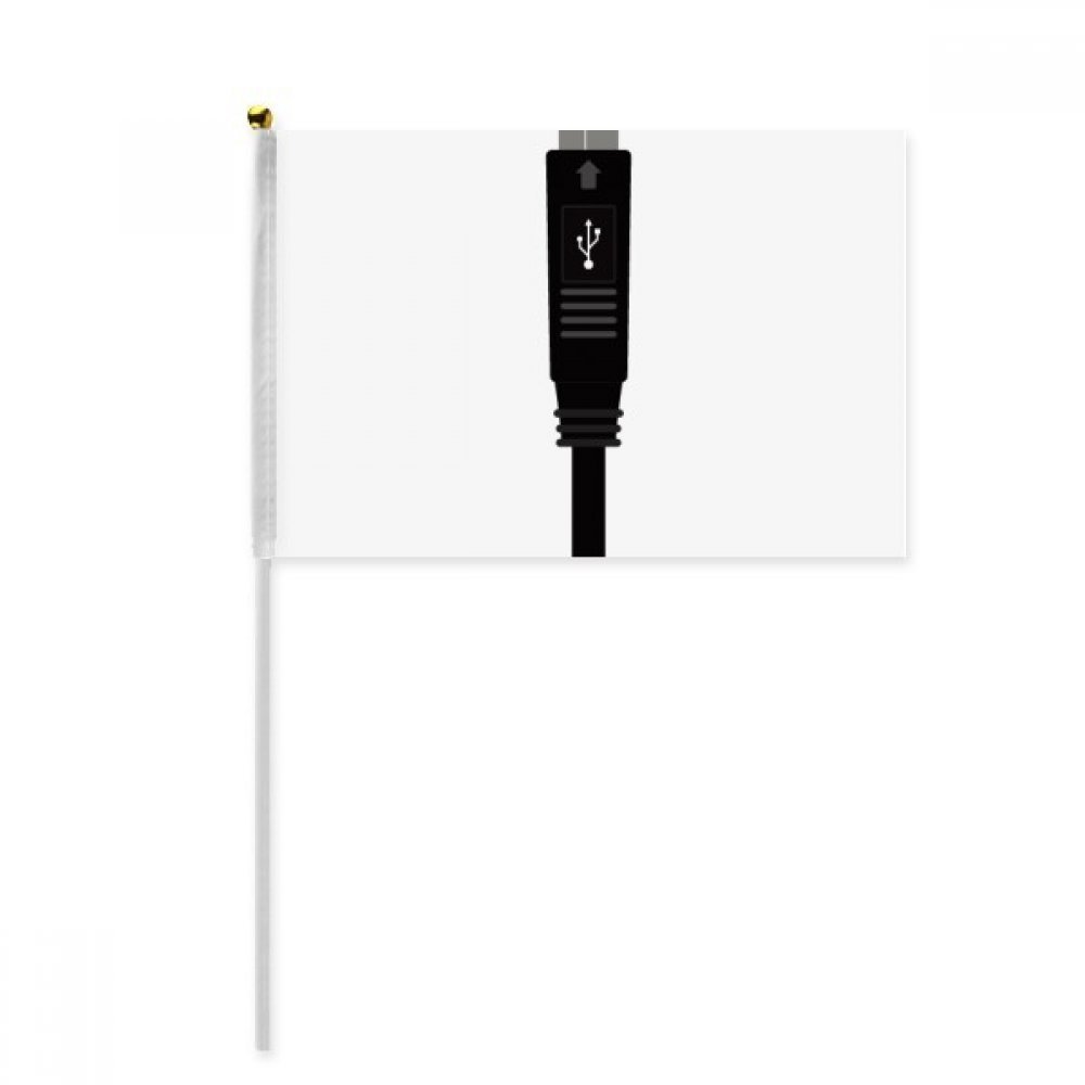 Black Charging Cable USB Plug Pattern Hand Waving Flag 8x5 inch Polyester Sport Event Procession Parade 4pcs
