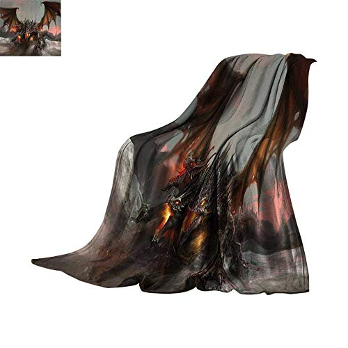 Custom homelife Cozy Flannel Blanket Fantasy World Decor,Illustration of Three Headed Fire Breathing Dragon Large Monster Gothic Theme,Brown Grey Print Summer Quilt Comforter Bed or Couch 62