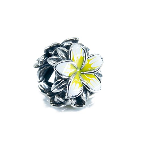 Tropical Flower Plumeria Frangipani Flower Sterling Silver Charm Bead S925, Hawaiian tropical Flower Bead, Blooming Tropical flower, Enamel Flower White & Yellow Jewellery, Pandora bracelet compatible