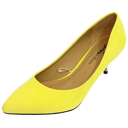 Damen Gelb Niedriger Pfennigabsatz zum Reinschlüpfen Hof Spitz Schuhe Works Pumps Größen 4-9 ( Standard & Extra Breit )