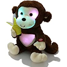 WEWILL LED Cute Monkey Creative Glow Stuffed Animal Plush Toys with a Banana, Brown, 12.5 inch