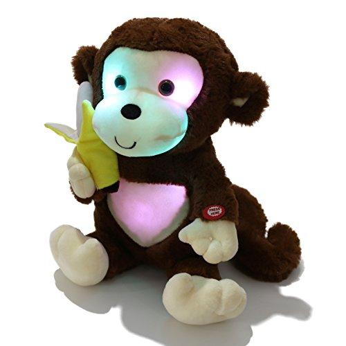 WEWILL LED Cute Monkey Creative Glow Stuffed Animal Plush Toys a Banana, Brown, 12.5 inch -