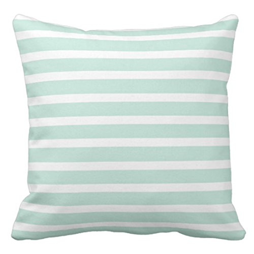 Emvency Throw Pillow Cover Stripes Seersucker Mint Green White Striped Lines Beautiful Stripe Decorative Pillow Case Home Decor Square 20 x 20 Inch Pillowcase