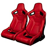 BRAUM - Pair of Red Leatherette ELITE-R Series Racing Seats with Black Stitches And Piping (BRR1R-RDBP)
