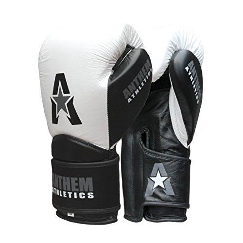 Anthem Athletics STORMBRINGER Fight Gloves - Muay Thai, Boxing, Striking, Kickboxing, Leather - White, Black & Grey - 16 oz. ()