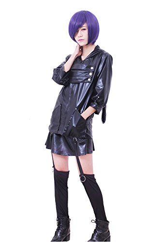 Touka Cosplay Costume (ROLECOS Womens Japanese Anime Cosplay Costumes PU Leather Battleframe Dress Suit S)