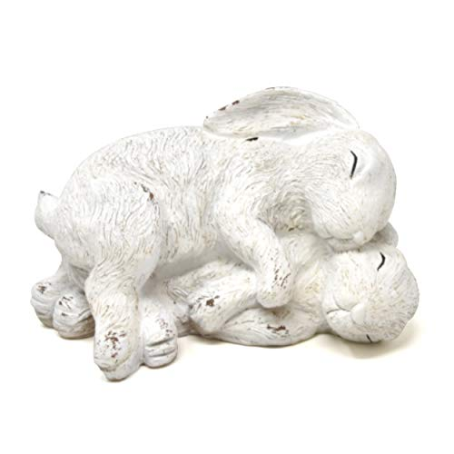 Gift Boutique Spring Garden Sculptures Bunny Rabbit Decor Figurine Statues White Resin Laying Outdoor Lawn Yard Animals Decorations Ornaments Figurines Home for Indoor and Outdoor Use Art Stone