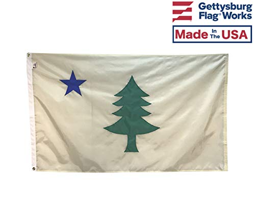 3x5' Historic Original Maine Flag - Fully Sewn Applique Durable All-Weather Nylon, Made in USA, Indoor or Outdoor - State Flag Maine Nylon
