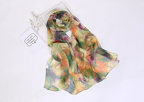 (1pc Women Foulard Chiffon Georgette Silk Scarf Green Tree leaf Print Sunscreen Long Shawl Muslim Hijab - Green)