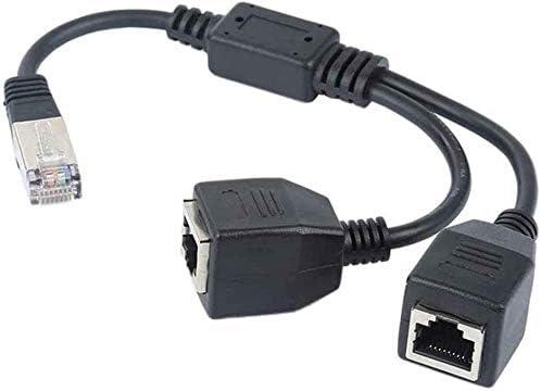 Cat7 Black-1 to 2 Network RJ45 Splitter Adapter 1 to 2 Port Ethernet Socket Connector,RJ45 Male to 2 x Female LAN Ethernet Splitter Adapter Cable Compatible with Cat5 Cat6 Cat5e