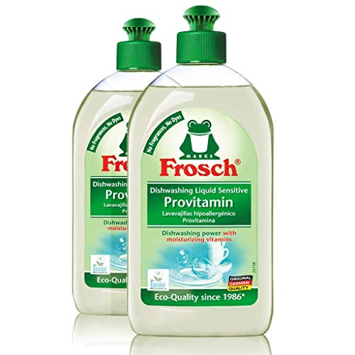 Clear Natural Liquid Dishwashing - Frosch Natural Unscented Sensitive Provitamin Dish Soap, Vegan Hand Dishwashing Detergent, Free and Clear, 500 ml (Pack of 2)