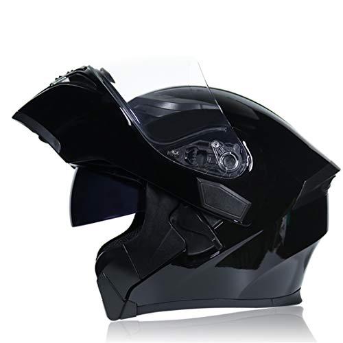 (Flip Up Motorcycle Helmet Modular Moto Helmet with Inner Sun Visor ty Double Lens Racing Full Face Helmets a2 L)