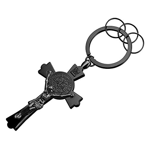 Alloy Black Gun Metal Keyrings Men St Benedict Crucifix Cross Key Tag Car/House Key Holder Keychain Key (Cross Metal Keychain)