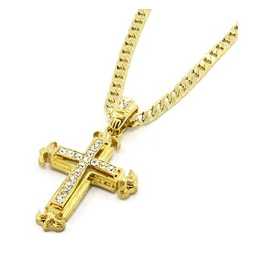 Clearance Sale!Funic Men/Womens Sharp Sides Rhinestone Cross Pendant Hip-hop Cuban Necklace Chain (Gold)
