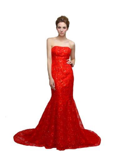 Bodenlang Rot Meerjungfrau Spitze aus Sexy Abendkleid p8q1Y5xwq