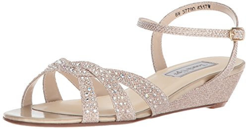 Touch Ups Women's Lena Wedge Sandal, Champagne, 6 W US