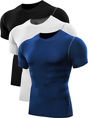 Neleus Men's 3 Pack Athletic Compression Under Base Layer Sport Shirt