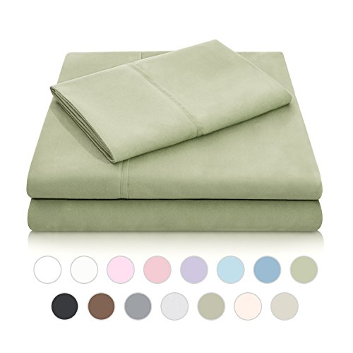 MALOUF Double Brushed Microfiber Super Soft Luxury Bed Sheet Set - Wrinkle Resistant - Split Queen Size - Fern