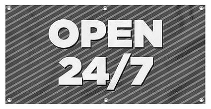 9x3 Classic Navy Wind-Resistant Outdoor Mesh Vinyl Banner Open 24//7 CGSignLab