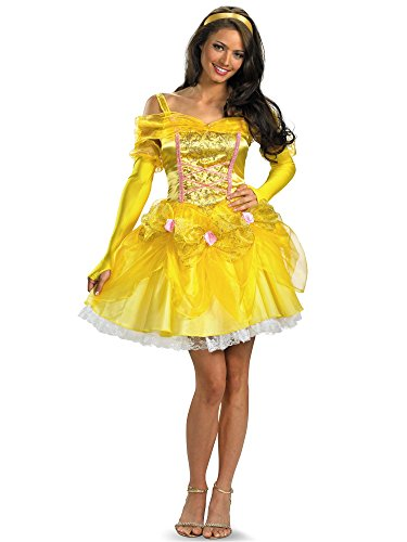 Adult Belle Dress (Disguise Disney Beauty And The Beast Sassy Belle Costume, Gold/Yellow/Pink,)
