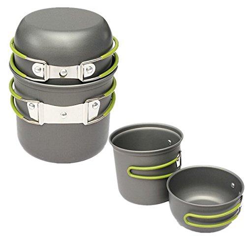 2 Pcs Outdoor Camping Picnic Cookware Cook Pot Bowl shopping