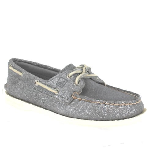 Sperry Top-Sider Women's A/O 2 Eye Silver Sparkle Suede Boat Shoe 9.5 M (Sperry Sparkle Women)