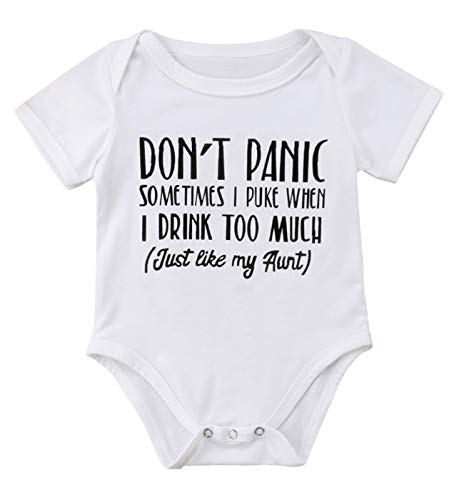 (Qiylii Newborn Baby Boys Girls Aunt Funny Letters Print Short Sleeve Bodysuit Romper Jumpsuit Clothes (0-3 Months) White)