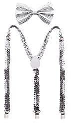 Premium Sequin Bow Tie & Suspenders Set