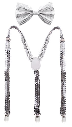 Man of Men - Premium Sequin Bow Tie & Suspenders Set (Silver) -