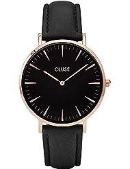 Cluse Womens La Boheme 38mm Black Leather Band Metal Case Quartz Analog Watch CL18001